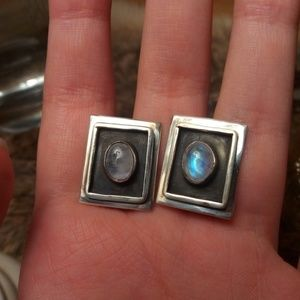 Sterling silver square shadowbox earrings